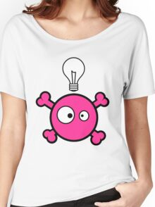 Funny pink skull and bones with ideea light bulb Women's Relaxed Fit T-Shirt