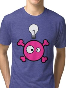 Funny pink skull and bones with ideea light bulb Tri-blend T-Shirt