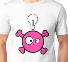 Funny pink skull and bones with ideea light bulb Unisex T-Shirt