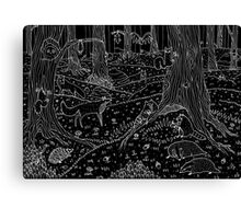 Nocturnal Animals of the Forest Canvas Print