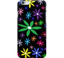 Colorful Retro Flowers on Black Oil Pastel iPhone Case/Skin