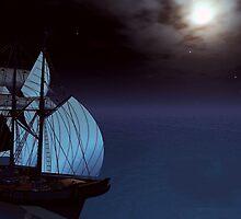 moonlit sail by Cheryl Dunning