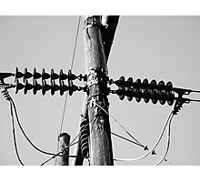 Black and White telephone Pole Photographic Print