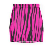 Shocking Pink Zebra Print  Mini Skirt
