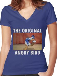 The Original Angry Bird (Donald Duck) Women's Fitted V-Neck T-Shirt