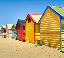 Brighton bathing boxes - Victoria - Australia by Frank Moroni