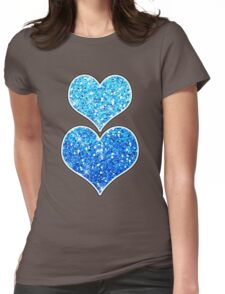 Blue Glitters Sparkles Texture Womens Fitted T-Shirt