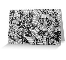 226 - FREE-HAND GEOMETRICAL FLORAL DESIGN - DAVE EDWARDS - INK - 2010 Greeting Card