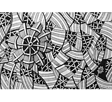 226 - FREE-HAND GEOMETRICAL FLORAL DESIGN - DAVE EDWARDS - INK - 2010 Photographic Print