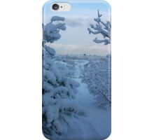 Snowy Trees over looking Reykjavik iPhone Case/Skin