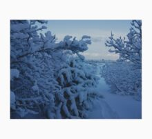 Snowy Trees over looking Reykjavik One Piece - Short Sleeve