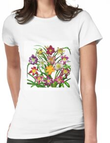 Display of Daylilies II with white background Womens Fitted T-Shirt