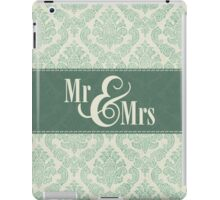 "Green Damask ""Mr & Mrs"" iPad Case/Skin"