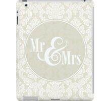 "Ivory Damask ""Mr & Mrs"" iPad Case/Skin"