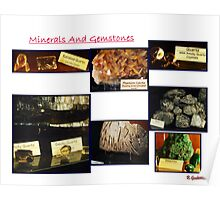 Minerals And Gemstones Display Collage Poster