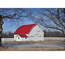 Tree-framed red-roof barn Photographic Print