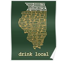 Drink Local - Illinois Beer Shirt Poster