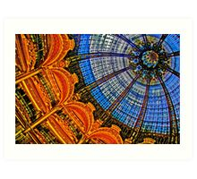 HDR of Lafayette Shopping Center, Paris, France  Glass Ceiling Dome Art Print