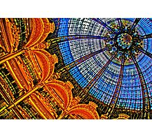 HDR of Lafayette Shopping Center, Paris, France  Glass Ceiling Dome Photographic Print