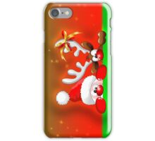 Funny Christmas Santa and Reindeer Cartoon iPhone Case/Skin