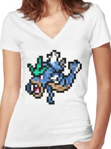 Pokemon 8-Bit Pixel Gyarados 130 Women's Fitted V-Neck T-Shirt