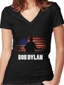 Bob Dylan American Flag Women's Fitted V-Neck T-Shirt