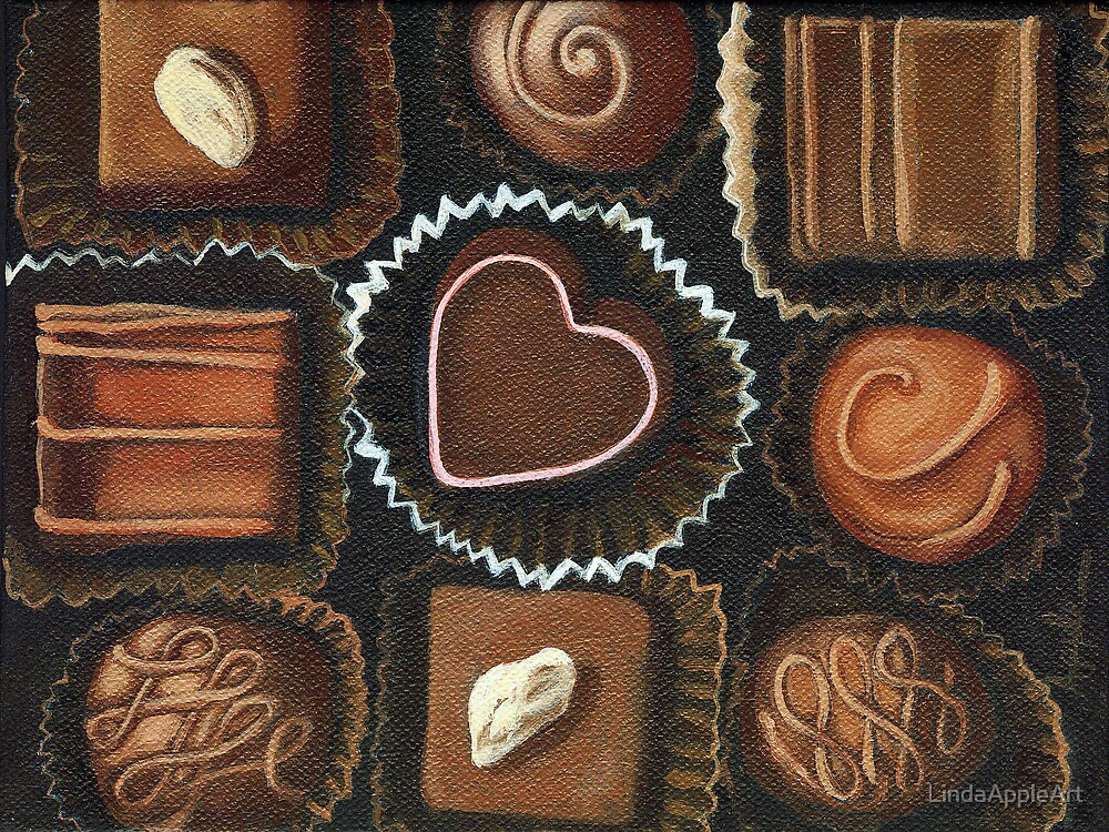 Sweets for the Sweet - Valentine Chocolates still life oil painting by LindaAppleArt