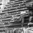 Monk at Angkor Wat-BW by dimpdhab
