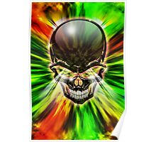 Crystal Skull on Psychedelic Flames Poster