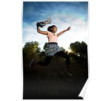a young woman, carrying a shawl, leaps into the air Poster