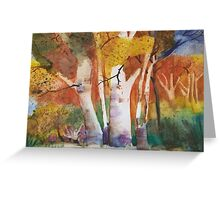 Fall Forest  oranges, yellow, trees watercolor painting Greeting Card