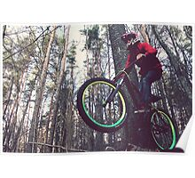 Bike jump in the forest Poster