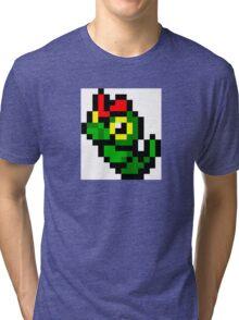 Pokemon 8-Bit Pixel Caterpie 010 Tri-blend T-Shirt