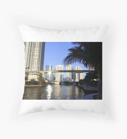 Sunset on the Miami River Throw Pillow