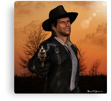 Tex - 3D Graphic Artwork Cowboy Western Outlaw Canvas Print