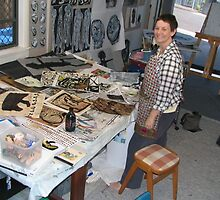 me in my studio before Drawing Breath exhibition by donnamalone