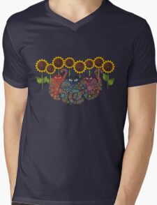 Cats With Sunflowers Mens V-Neck T-Shirt
