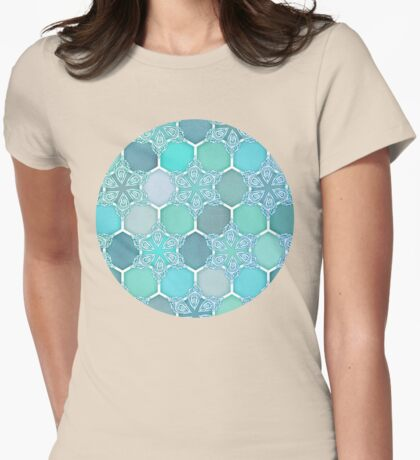 Frozen Mint Honeycomb - Doodle Hexagon Pattern Womens Fitted T-Shirt