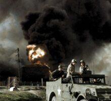 Armed troops near an explosion at an oil factory near Texas City, Texas. April 17, 1947. Sticker