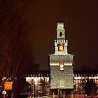 Milan. Castello Sforzesco Entrance at Night with Christmas Lights. 2010 by Igor Pozdnyakov