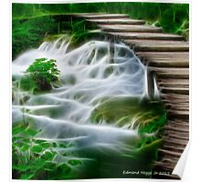 Waterfalls and Wooden Bridges Poster