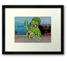 Sea Monster And Girl Framed Print