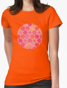 Pink Spice Honeycomb - Doodle Hexagon Pattern  T-Shirt