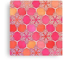 Pink Spice Honeycomb - Doodle Hexagon Pattern  Canvas Print