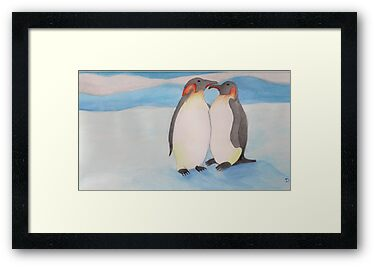 Watercolour penguins in blue. by delly1984