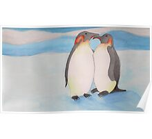 Watercolour penguins in blue. Poster