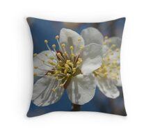white plum blossoms Throw Pillow