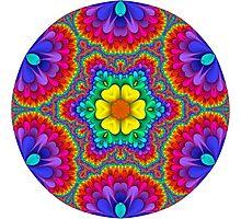 Rainbow Flower Mandala Photographic Print