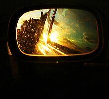 Sundown in the rear side mirror by mela80