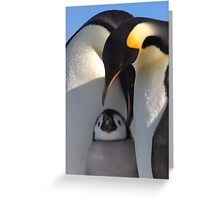 Emperors and Chick - Snow Hill Island Greeting Card